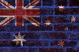 Australian Flag on Brick Background