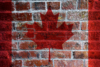 Canadian Flag on Brick Background