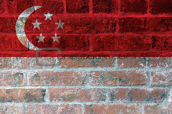 Singapore Flag on Brick Wall Background