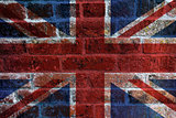 UK Flag on Brick Background