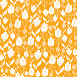 Vector golden Dutch tulip flowers elegant seamless pattern background with hand drawn Dutch floral motives.
