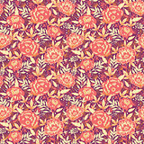Vector golden flowers and leaves elegant seamless pattern background
