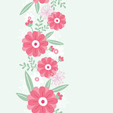 Vector peony flowers and leaves elegant vertical seamless ornament pattern background