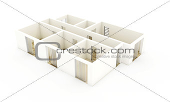 3d apartment plan view