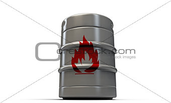 barrel with flame sign