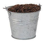 Compost / soil / dirt in a miniature metal bucket