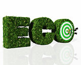 eco word composed by grass with a dartboard and darts