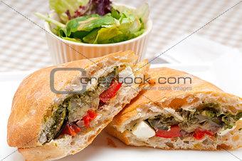 ciabatta panini sandwichwith vegetable and feta