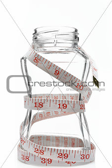 Glass with measuring tape