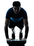 man exercising bosu push ups workout fitness posture
