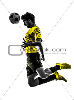 brazilian soccer football player young man heading silhouette