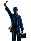 repair man worker saluting silhouette