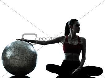 woman exercising fitness ball