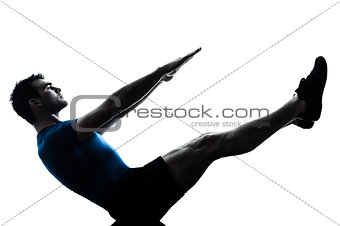 man exercising workout fitness boat position yoga posture