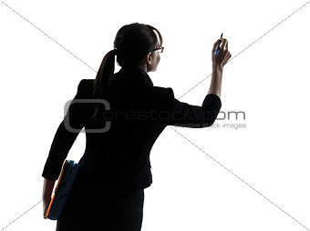 business woman writing copy space  silhouette