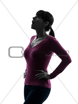woman surprised looking up portrait silhouette