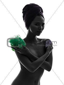 beautiful asian young woman holding washing accessories portrait