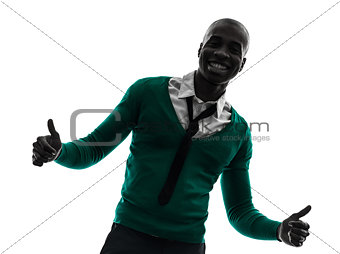 african black man smiling thumb up silhouette