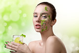 pretty woman with fresh make-up and cold mojito