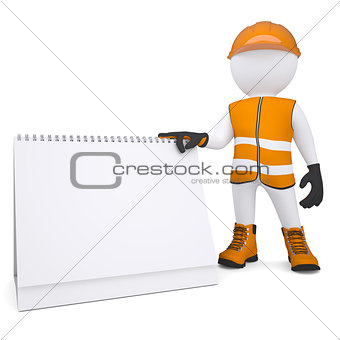 3d white man in overalls holding a calendar