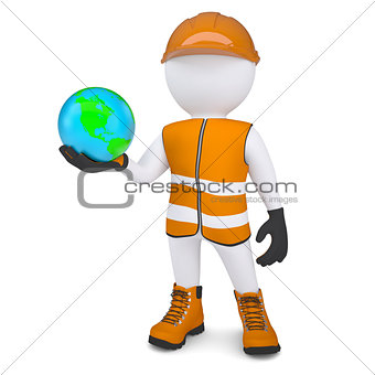 3d white man in overalls holding the Earth