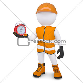3d white man in overalls holding a alarm clock