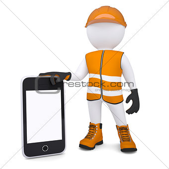 3d white man in overalls holding a smartphone