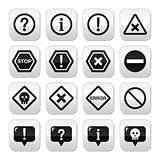 System buttons - warning, danger, error isolated on white