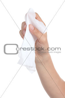 Woman hand using a washcloth
