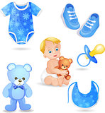 Set of elements for a baby boys