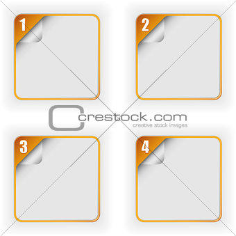 four options template with 3D page curl