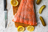 Fish salmon raw slice cutting board eating food
