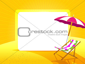 Greeting card with umbrella and chair on a yellow background