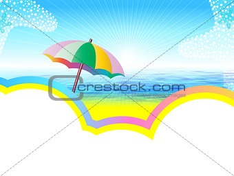 Sea landscape with umbrella
