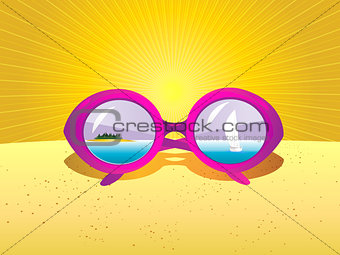 Sea landscape with sunglasses