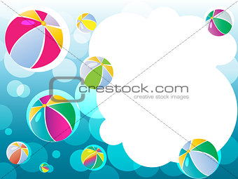 Sky landscape with bubbles and balls