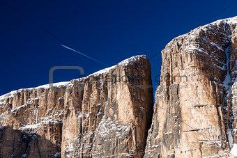 Cliffs on Peak Vallon at Ski Resort of Corvara, Alta Badia, Dolo