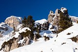 Rocky Mountains on the Ski Resort of Arabba, Dolomites Alps, Ita