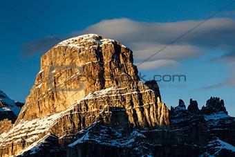 Sassongher Peak on the Ski Resort of Corvara, Alta Badia, Dolomi