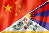 China and Tibet flag