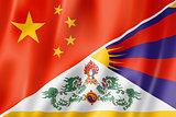China and Tibet flag