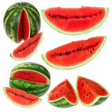 Set fresh watermelon and slices isolated on a white background