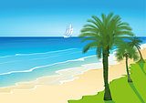 Beach with palm trees and sailing ship