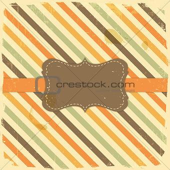 Card Design Vintage Label on Stripe Background