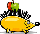 hedgehog with apple cartoon