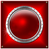 Red and Metal Background with Round Banner