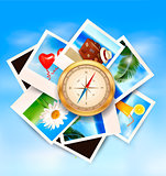 Background  with travel photos and  compass. Vector