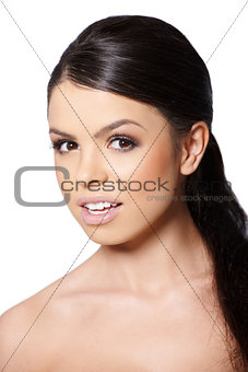 Pretty girl portrait over white background