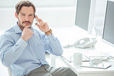 Close up of businessman talking mobile phone