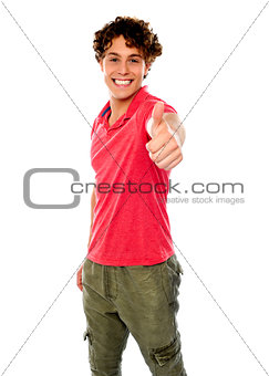 Smart guy standing with thumbs-up